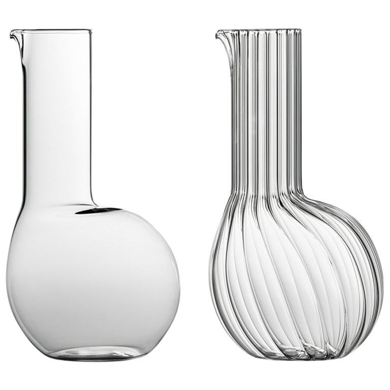 Dudù High Mouth Blown Glass Carafe Designed by Matteo Cibic For Sale