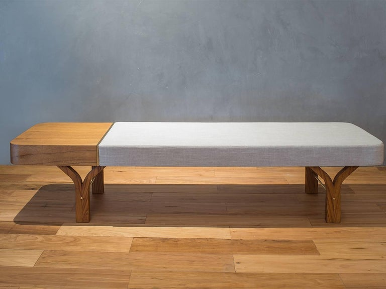 Metal Due Brazilian Contemporary Wood Bench and Table by Lattoog For Sale