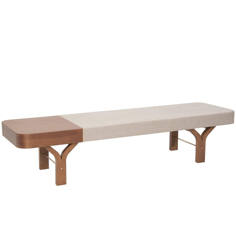 Due Brazilian Contemporary Wood Bench and Table by Lattoog For Sale