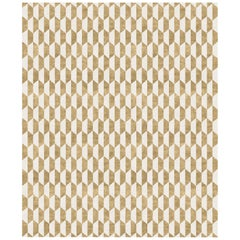 Duetto d'Oro, Modern Geometric Hand-Knotted Wool Blend-silk Rug