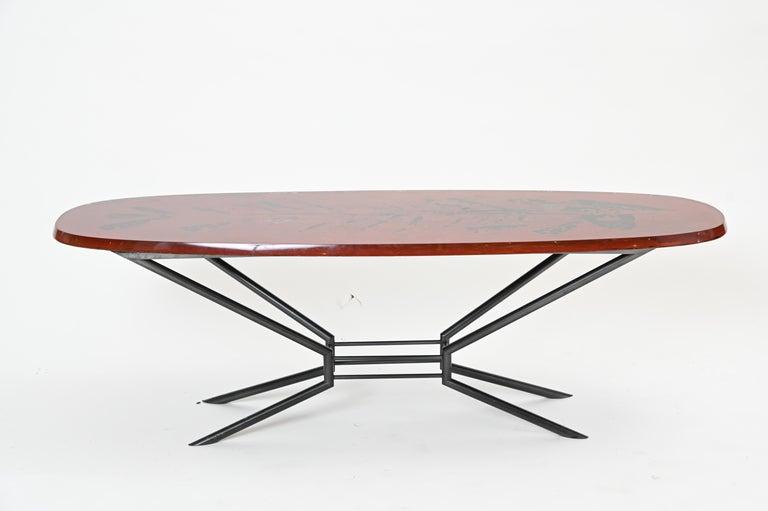 Hand-Painted Duilio Barnabé, Aka 'Dube' Cocktail Table for Fontana Arte For Sale