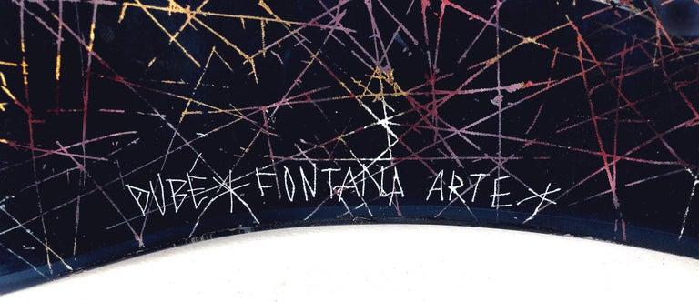 Hand-Painted Duilio Dubé Bernabe Fontana Arte Glass Centerpiece Bowl For Sale