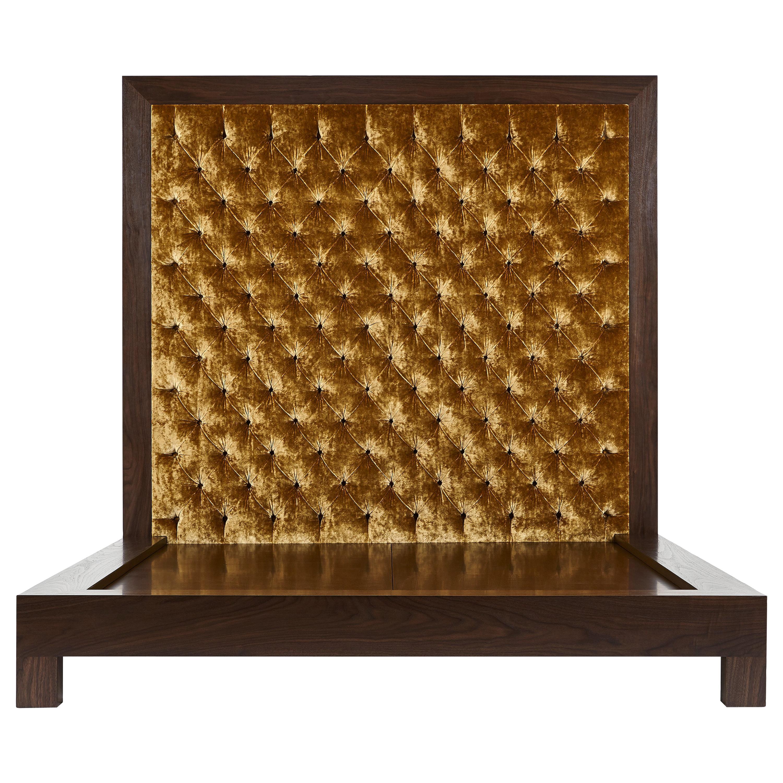 Dulce Bed Queen, King Plead Tufted headboard Walnut, Oak, Maple Wood Frame