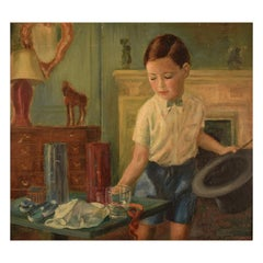 Dulcie Lambrick, England, Oil on Board, Interior with a Boy