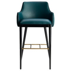 Dumas Bar Stool with Black Glossy Feet and Antique Brass Rest Feet