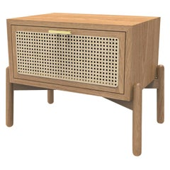 Dumas Nightstand Oak and Wicker, Contemporary Mexican Design