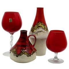 Dumler & Breiden /Empoli 'Florence Opaline' Group of Vases, '1970s'