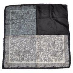 Dumont Black Border with Ivory, Gray & Steel Blue Palsey Silk Handkerchief