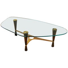 Dunbar #5309 Solid Brass, Walnut and Glass Coffee Table by Edward Wormley USA