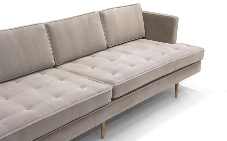 Mid-Century Modern Dunbar Sofa, Brass Legs by Edward Wiormley Real Mohair Fabric, Excellent For Sale
