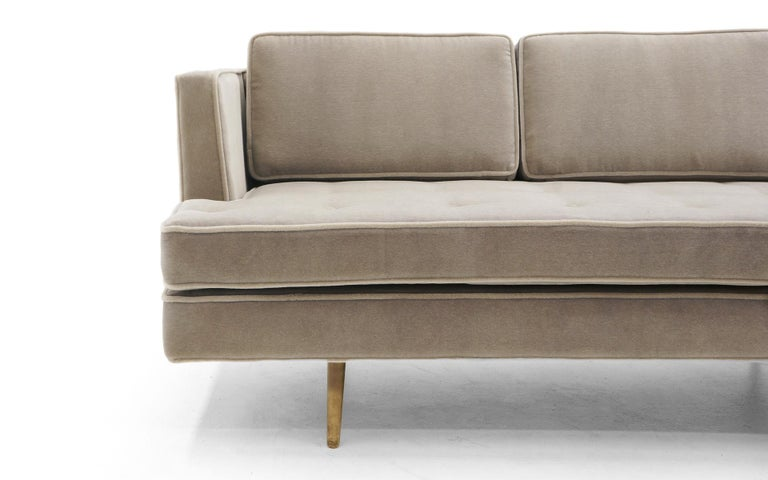 American Dunbar Sofa, Brass Legs by Edward Wiormley Real Mohair Fabric, Excellent For Sale