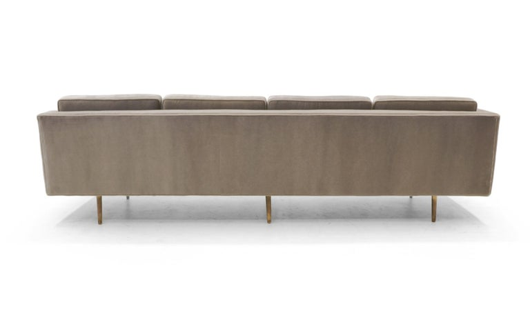 Dunbar Sofa, Brass Legs by Edward Wiormley Real Mohair Fabric, Excellent For Sale 3