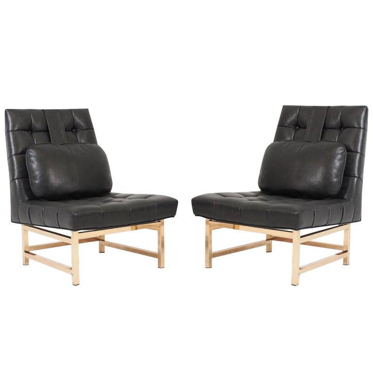 Dunbar Brass and Leather Slipper Chairs, Edward Wormley, 1950s For Sale