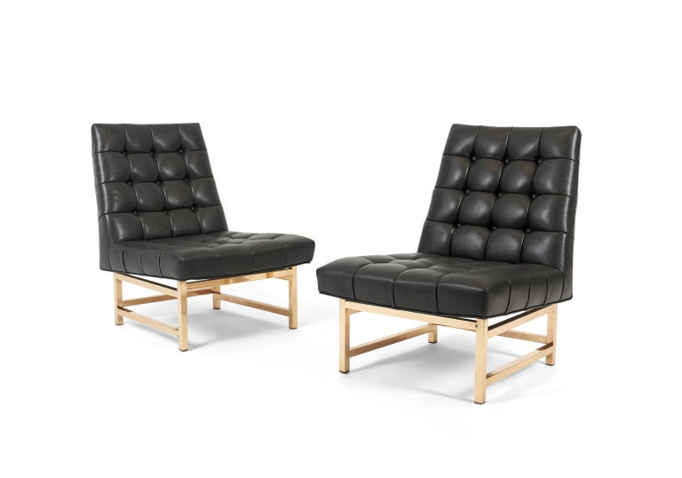 Marvelous Dunbar Brass And Leather Slipper Chairs Edward Wormley 1950S Ibusinesslaw Wood Chair Design Ideas Ibusinesslaworg