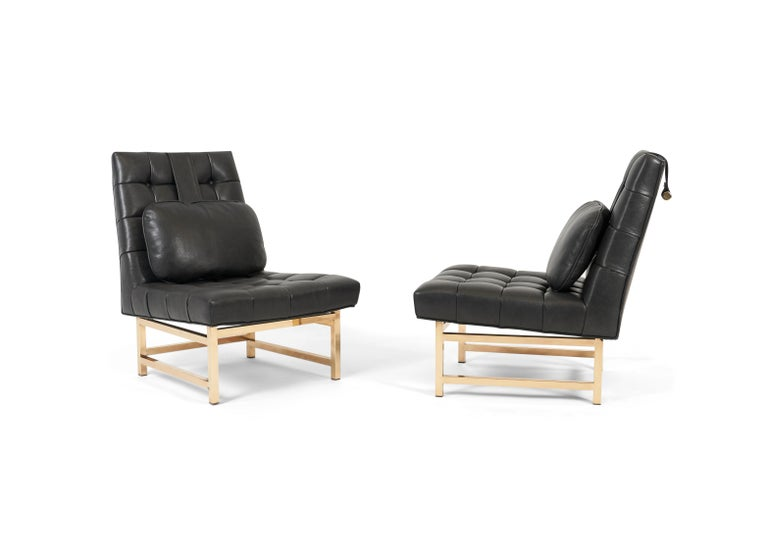 Mid-Century Modern Dunbar Brass and Leather Slipper Chairs, Edward Wormley, 1950s For Sale