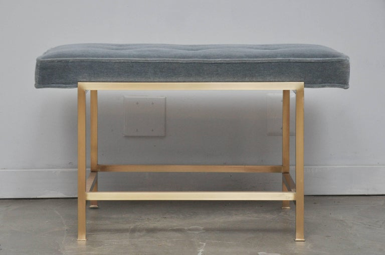 Brass frame bench by Edward Wormley for Dunbar. Fully restored, polished, and reupholstered in mohair.