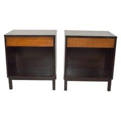 Dunbar by Edward Wormley Two-Tone Nightstands Espresso & Honey Blonde 1960s