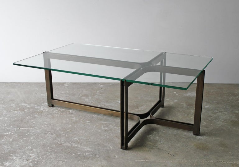 Mid-Century Modern Dunbar Coffee Table by Tom Lopinski in Oil Rubbed Bronze and Glass For Sale