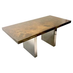 Dunbar Desk with Patinated Brass Top and Stainless Steel Bases