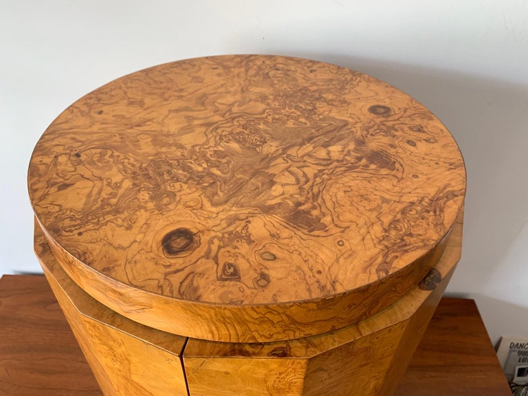 Mid-Century Modern Dunbar Edward Wormley Bar Cabinet Olive Wood Burl For Sale