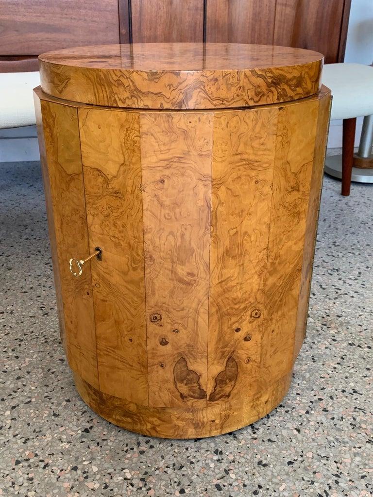 Mid-20th Century Dunbar Edward Wormley Bar Cabinet Olive Wood Burl For Sale