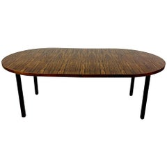 Dunbar Edward Wormley Rosewood, Walnut, & Mahogany Round Extension Dining Table