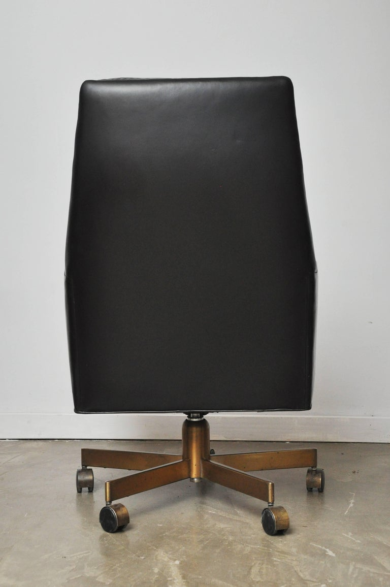 Leather Dunbar Executive Desk Chair by Edward Wormley For Sale
