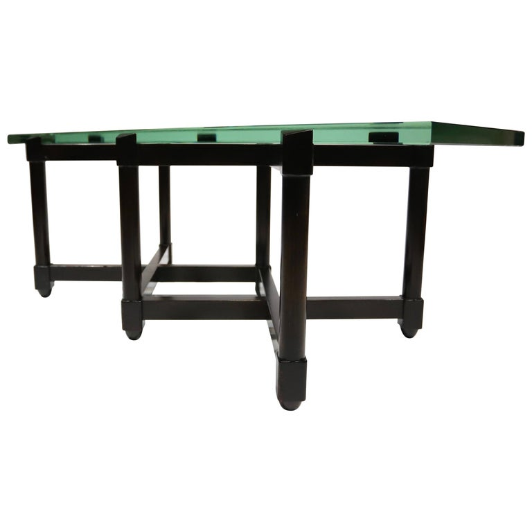Dunbar Glass Top Cocktail Table by Edward Wormley For Sale