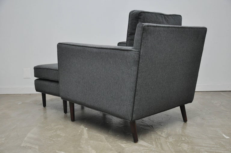 Mid-20th Century Dunbar Lounge Chair with Ottoman on Rosewood Legs by Edward Wormley For Sale