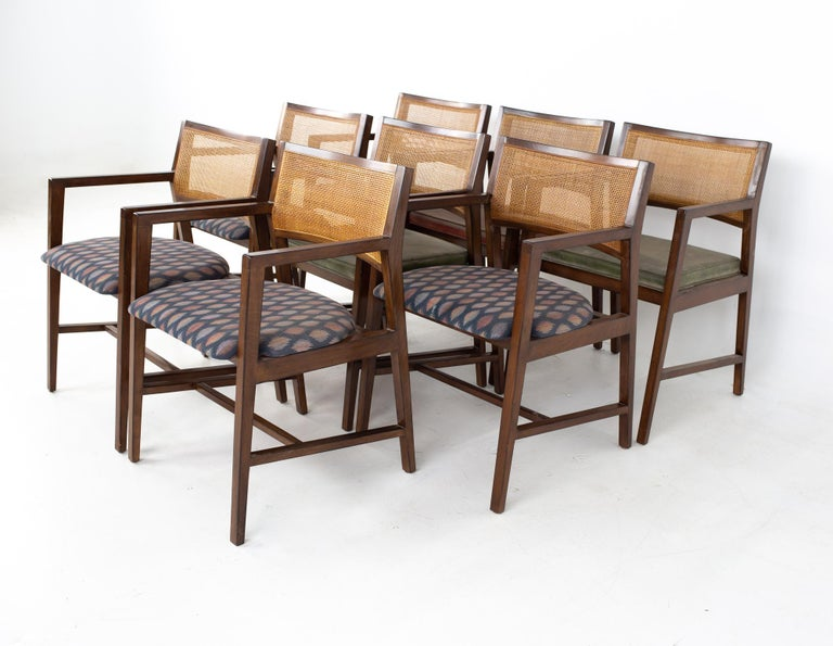 Dunbar Mid Century dining chairs, set of 8 Each chair measures: 21 wide x 20 deep x 31 high, with a seat height of 18 inches  All pieces of furniture can be had in what we call restored vintage condition. That means the piece is restored upon