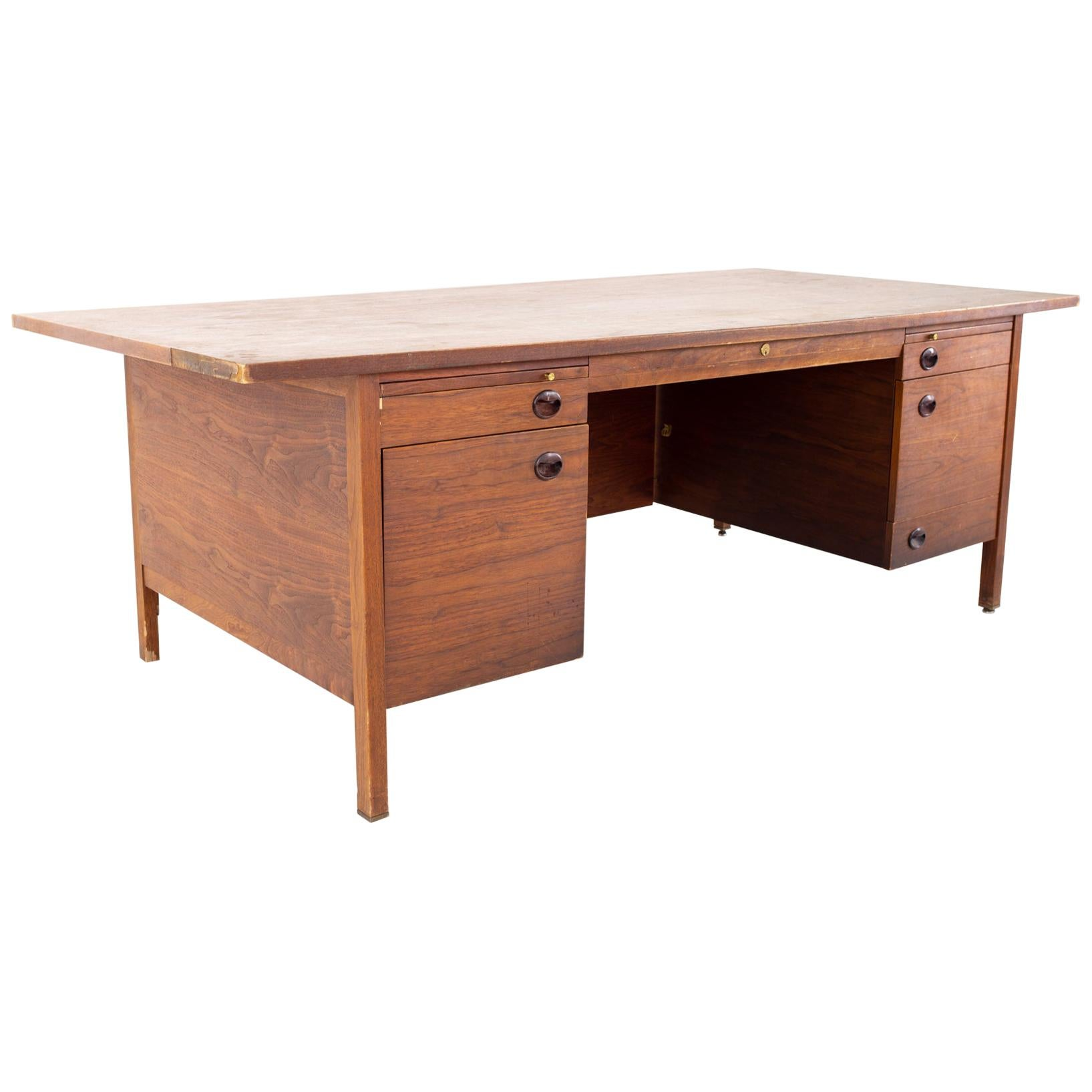 Dunbar Mid Century Walnut Executive Desk