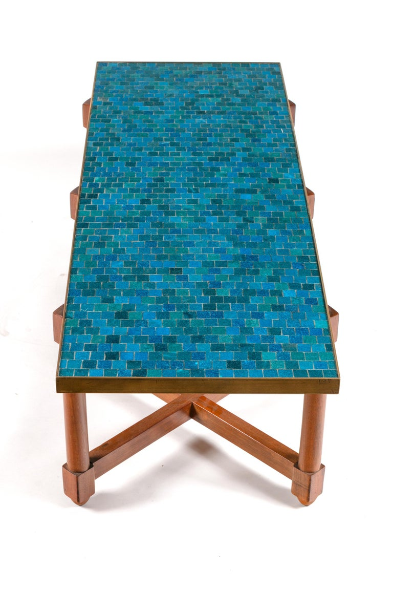 Mid-Century Modern Dunbar Murano Glass Tile Top Coffee Table by Edward Wormley, USA 1950s For Sale
