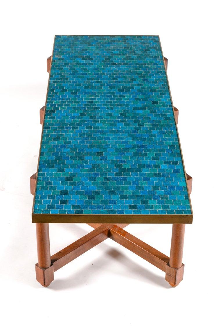 Mid-Century Modern Dunbar Murano Glass Tile Top Coffee Table by Edward Wormley, USA, 1950s For Sale