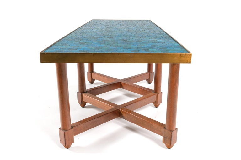 American Dunbar Murano Glass Tile Top Coffee Table by Edward Wormley, USA, 1950s For Sale