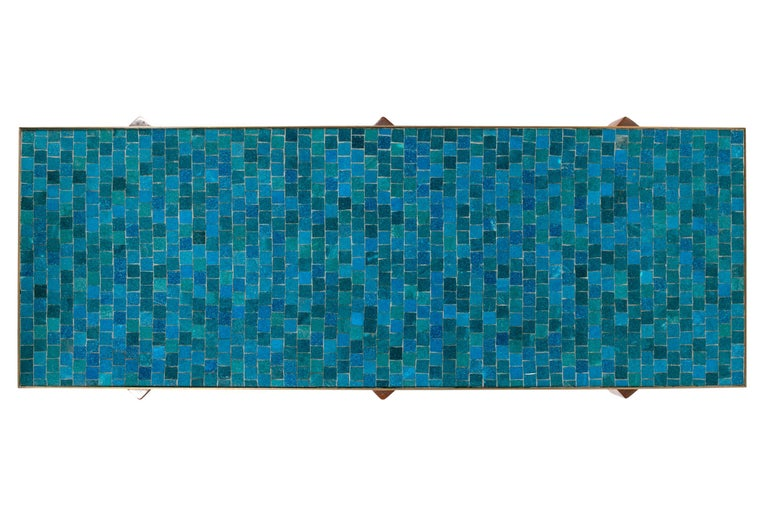 Dunbar Murano Glass Tile Top Coffee Table by Edward Wormley, USA 1950s In Excellent Condition For Sale In New York, NY