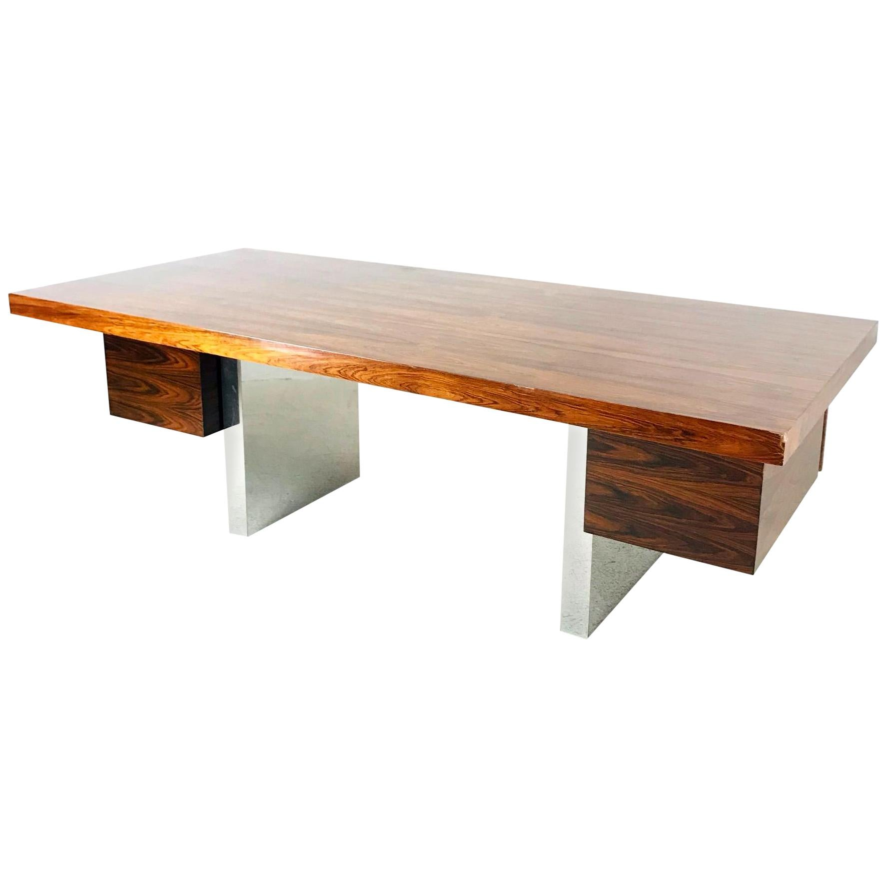 Dunbar Rosewood and Chrome Executive Desk by Roger Sprunger