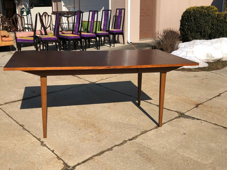 Mid-Century Modern Dunbar Rosewood Dining Table, Conference Table Expandable, Stunning For Sale