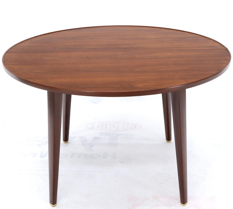 Mid-Century Modern Dunbar Round Walnut Dining Table with 2 Extension Boards Leafs Racetrack Shape For Sale