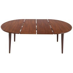Dunbar Round Walnut Dining Table with 2 Extension Boards Leafs Racetrack Shape