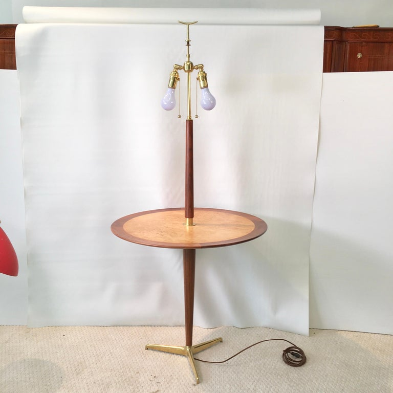 Mid-Century Modern Dunbar Snack Table Floor Lamp, Model 4856, Designed by Edward Wormley For Sale