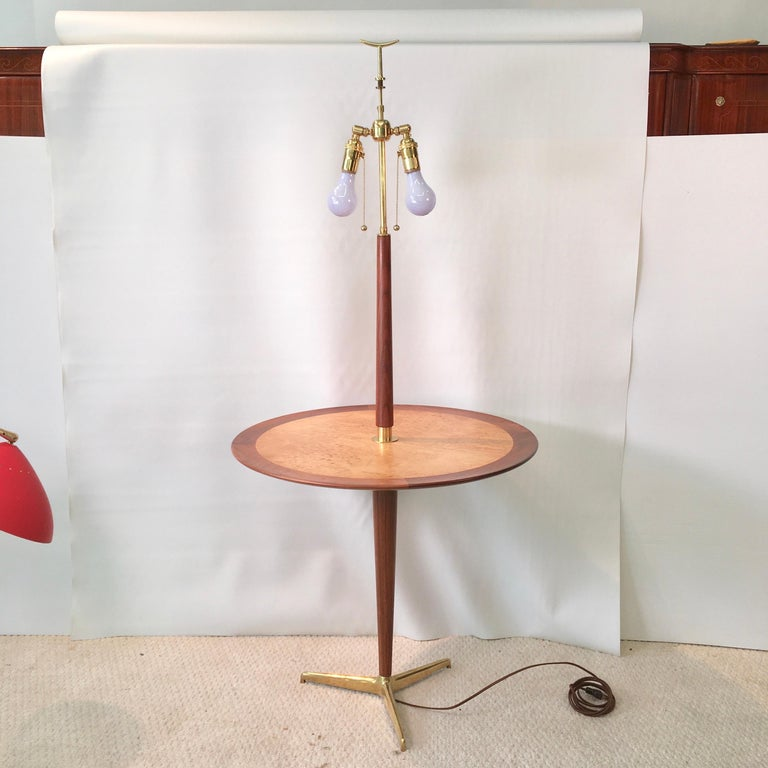 American Dunbar Snack Table Floor Lamp, Model 4856, Designed by Edward Wormley For Sale