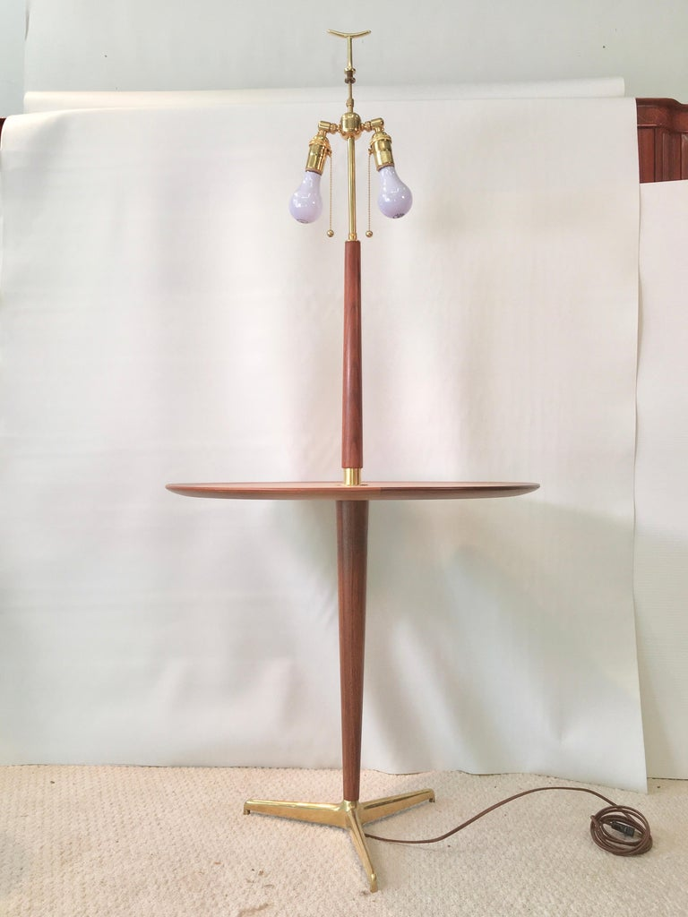 Mid-20th Century Dunbar Snack Table Floor Lamp, Model 4856, Designed by Edward Wormley For Sale
