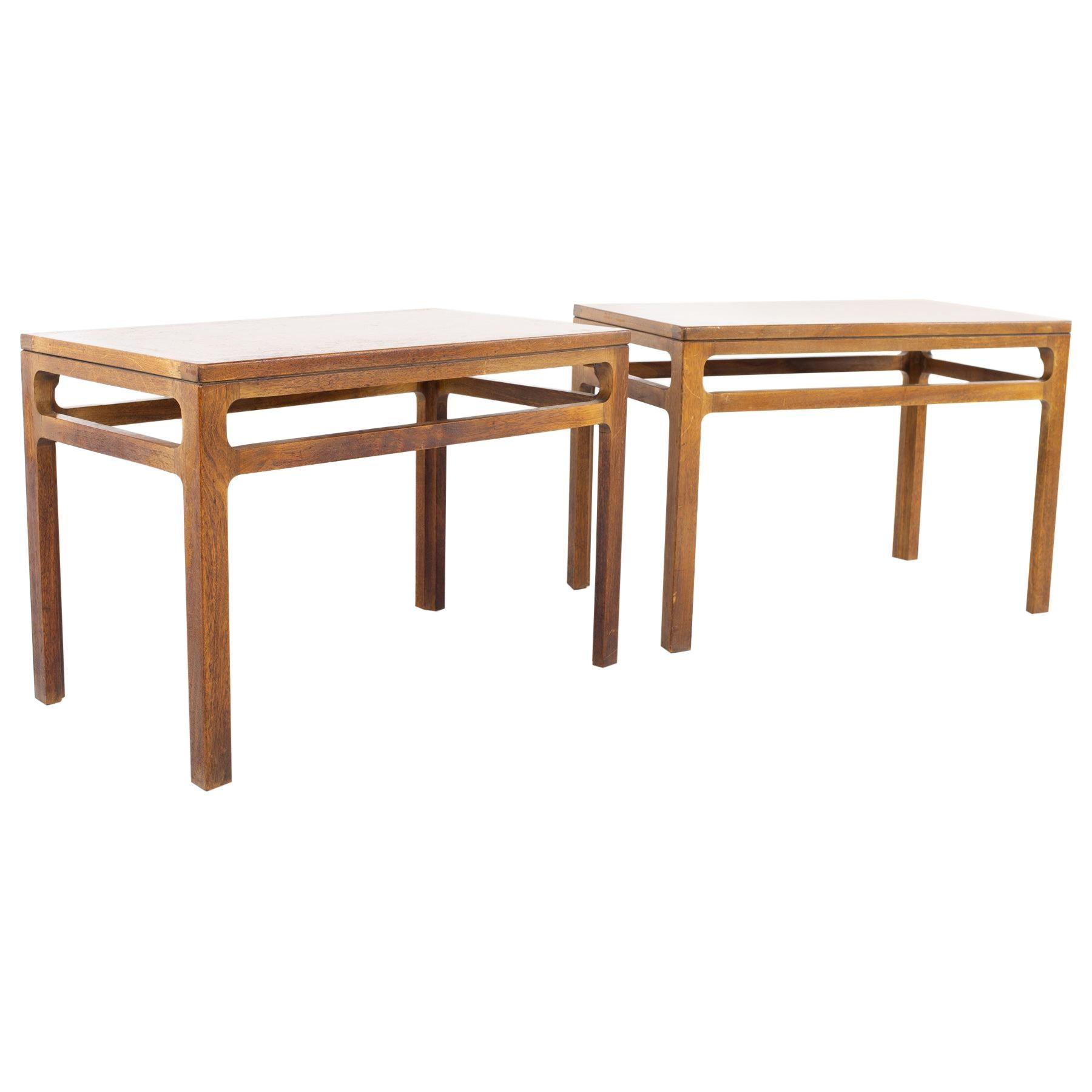 Dunbar Style Mid Century Walnut Side End Tables, a Pair