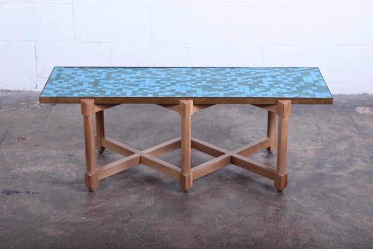 A Murano glass tile top table on bleached mahogany base. Designed by Edward Wormley for Dunbar.