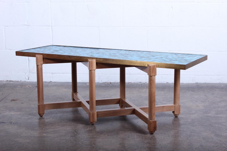 Dunbar Tile Top Table by Edward Wormley In Good Condition For Sale In Dallas, TX