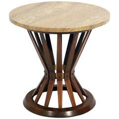 Dunbar Travertine Top End Table