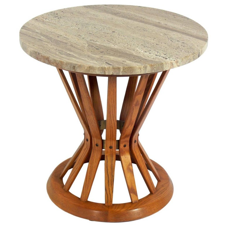 Dunbar Travertine Top End Table