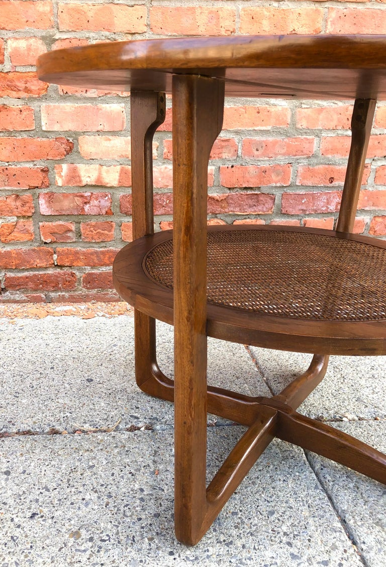 Dunbar Two-Tier Walnut Occasional Table with Cane Shelf For Sale 4