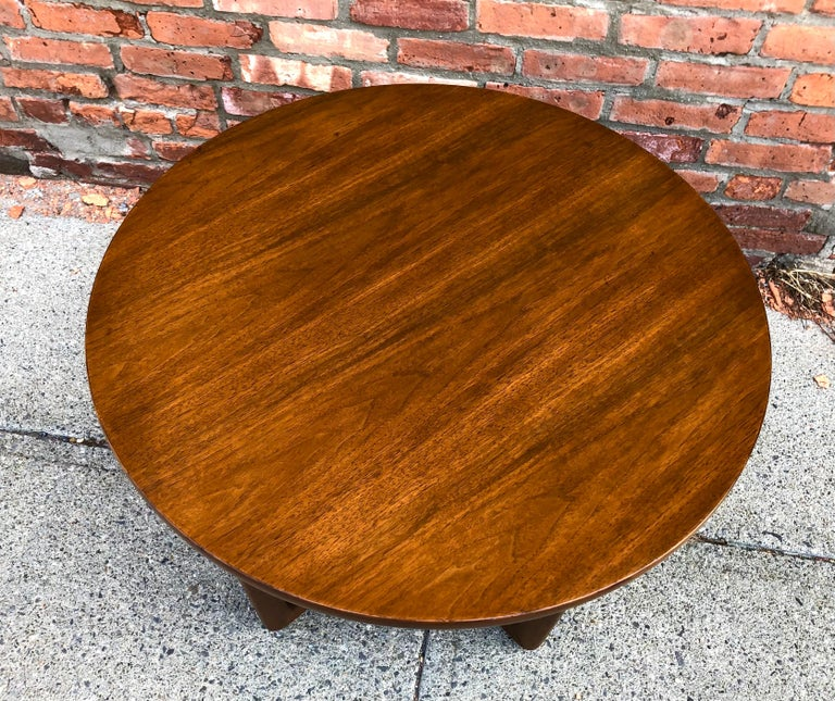 Mid-Century Modern Dunbar Two-Tier Walnut Occasional Table with Cane Shelf For Sale