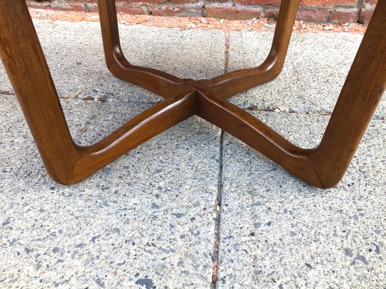 Mid-20th Century Dunbar Two-Tier Walnut Occasional Table with Cane Shelf For Sale